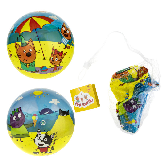 1toy Три Кота мяч ПВХ, полноцветн, 23 см, 90 г, сетка и бирка