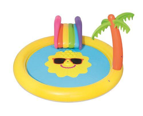 Надувной бассейн с принадл. для игр (горка 1 шт.) солнышко 237х201х104см, 225 л.