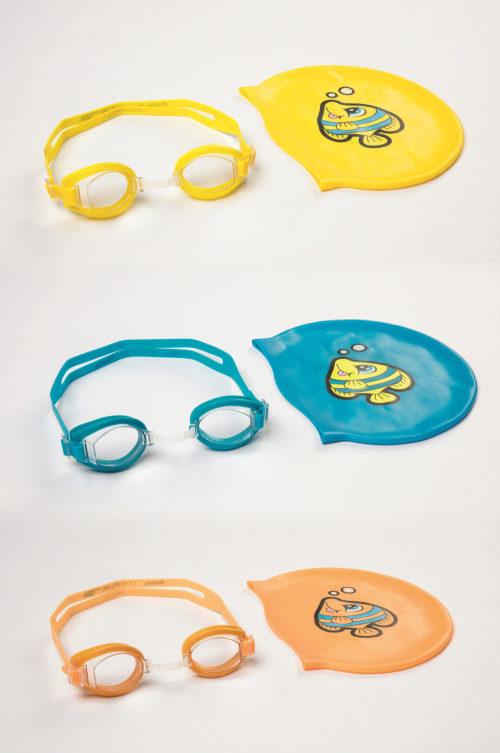 Плавательный набор (очки, шапочка) от 3лет