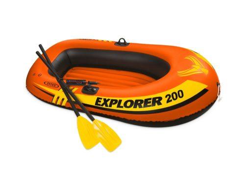 Надувная лодка эксплорер 200 185х94х41см/весла пласт./насос ручной мини от 6лет
