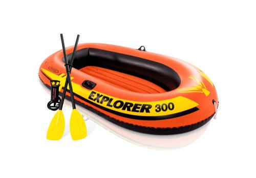 Надувная лодка эксплорер 300, 211х117х41см, пласт.весла, ручн.нас.