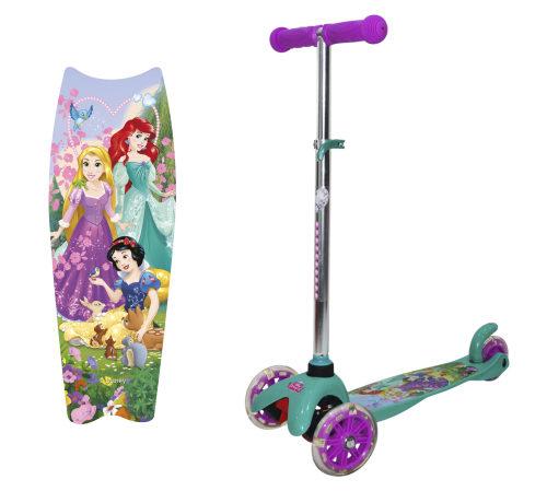 Самокат Disney Принцессы упр.накл. PU светящ. кол.2х120мм/80мм,алюм./нейлон,ручки TPR,54х11х72(60)см,рег. руль,2кг