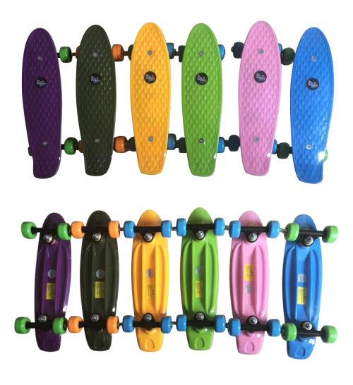 Скейт Navigator пласт. кол.PVC 42х28мм, пласт.траки, 42х12х8см, цвета в ассорт.