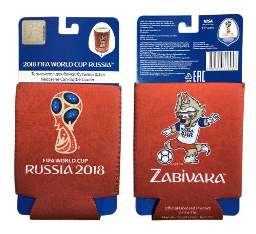 FIFA-2018 термочехол из неопрена 3 мм для банки/бутылки 0,33 л. картонный подвес+пакет