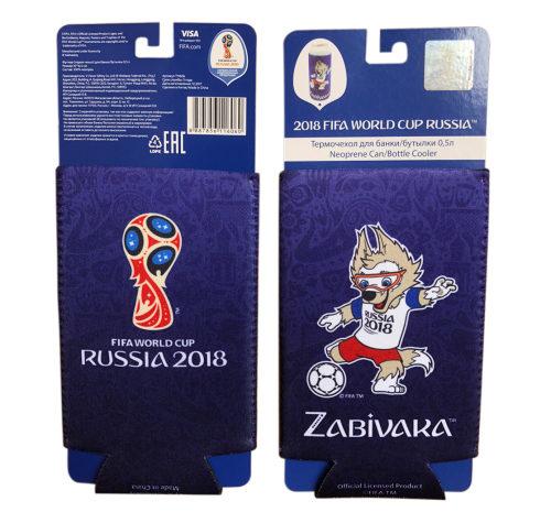 FIFA-2018 термочехол из неопрена 3 мм для банки/бутылки 0,5 л. картонный подвес+пакет