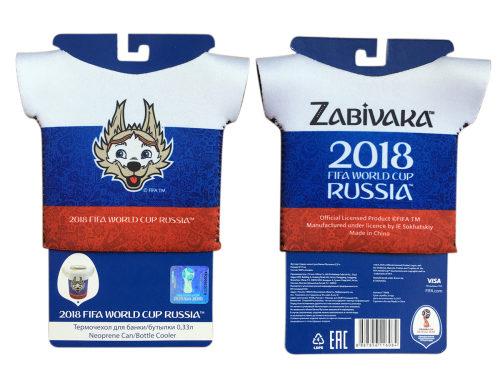 FIFA-2018 термочехол-футболка из неопрена 3 мм для банки/бутылки 0,33 л. картонный подвес+пакет