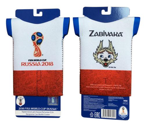 FIFA-2018 термочехол-футболка из неопрена 3 мм для банки/бутылки 0,5 л. картонный подвес+пакет