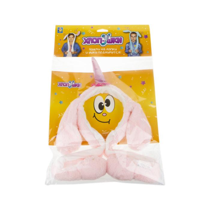 1toy, Хлоп-Ушки, Единорог розовый, ободок детский с поднимающимися ушками