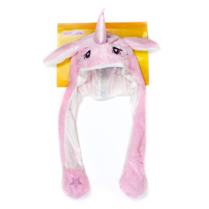1toy, Хлоп-Ушки, шапка детская Единорог розовый