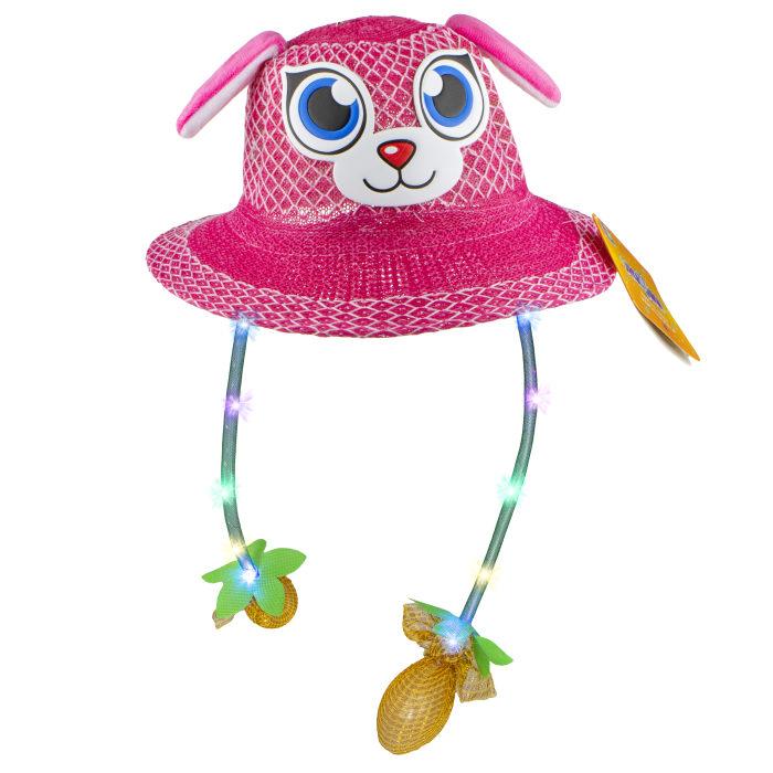 1TOY Хлоп-Ушки, шляпка летняя с глазками, с поднимающимися ушками, со светом, 5 цветов.