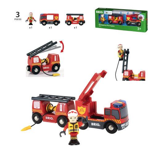 BRIO Пожарная машина,свет,звук,выдвижн.лестница,закруч.шланг,26х5х9см,кор.