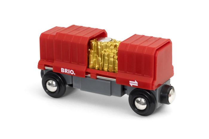 BRIO Грузовой вагончик с золотом (2 элемента) 10,7х3,5х4,9 см., блистер 15,3х4х13,3 см.