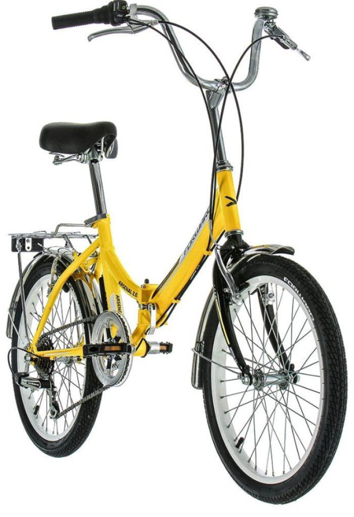 Вело складной 20, 6ск, Shimano, V-brake пер-зад, подножка, багажник, звонок, метал хром крылья, Forward ARSENAL 20 2.0 желтый