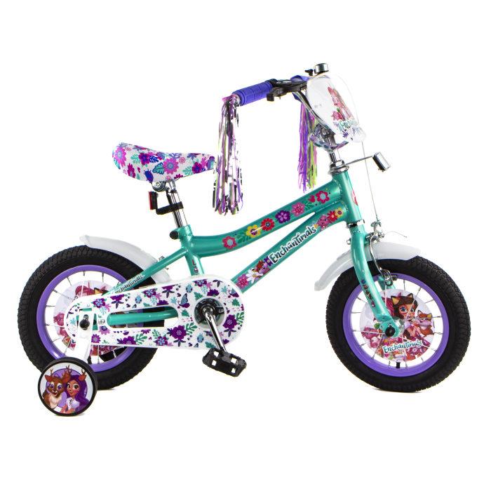 Детский велосипед, Enchantimals, колеса 12, стальная рама, стальные обода, ножной тормоз, защитная накладка на руле и выносе, номер на руле, пластико