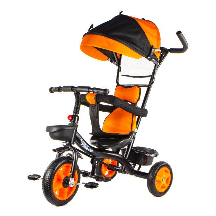 Вело 3-х кол, ПВХ, тент, страх.обод,замок, ручка, тяга, складная подножка, свободный ход пер.колеса, корзинка, звонок, крылья, унисекс, оранжевый