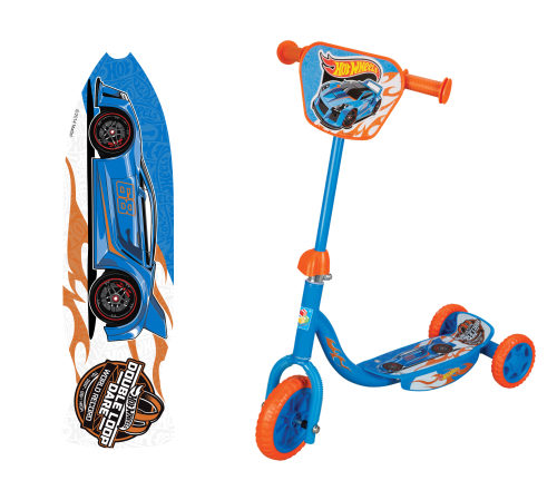 Cамокат Hot Wheels 3-хкол. EVA 6/4, декор.панель