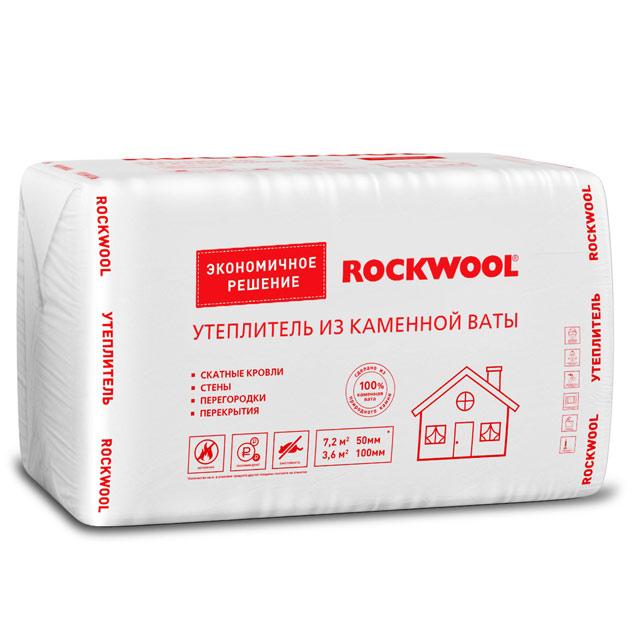Утеплитель Rockwool Эконом 1000*600*100мм, 2.40м2, 0.240м3 (29-39 кг/м3)