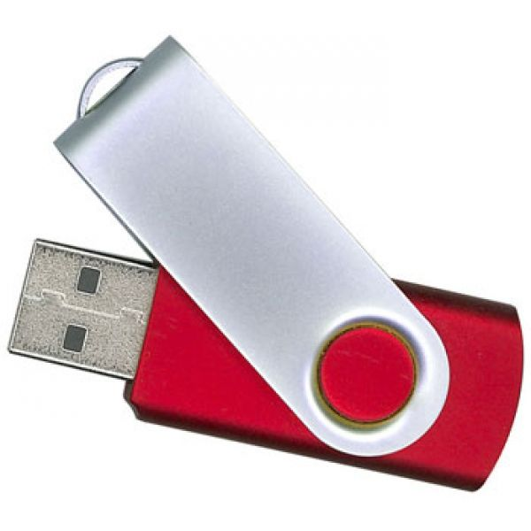 16GB USB-флэш корпус для флешки Apexto U201, красный 485c c белым клипом OEM