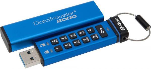64GB USB-флэш накопитель Kingston Data Traveler 2000 256-AES, keypad