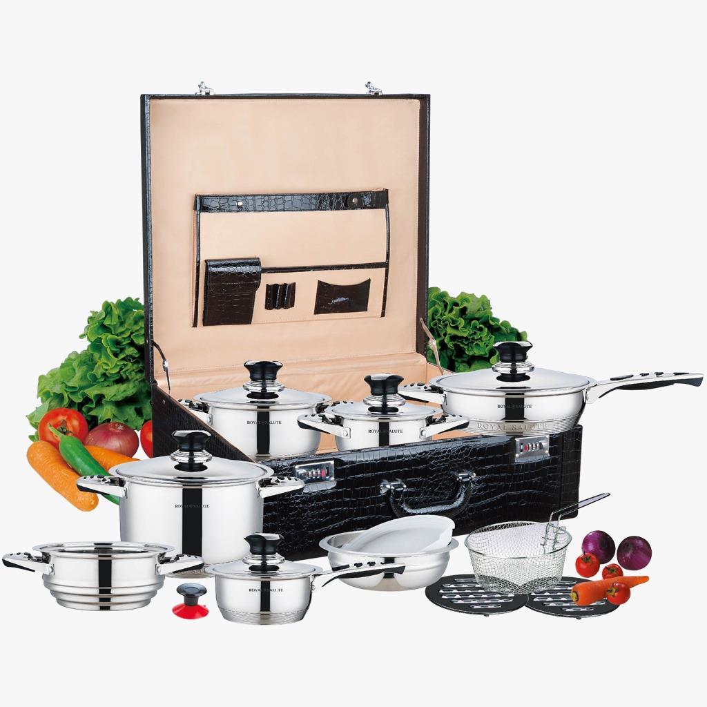 RS-1950 Набор посуды RoyalSalute 19 предметов, с термостатом в крышке