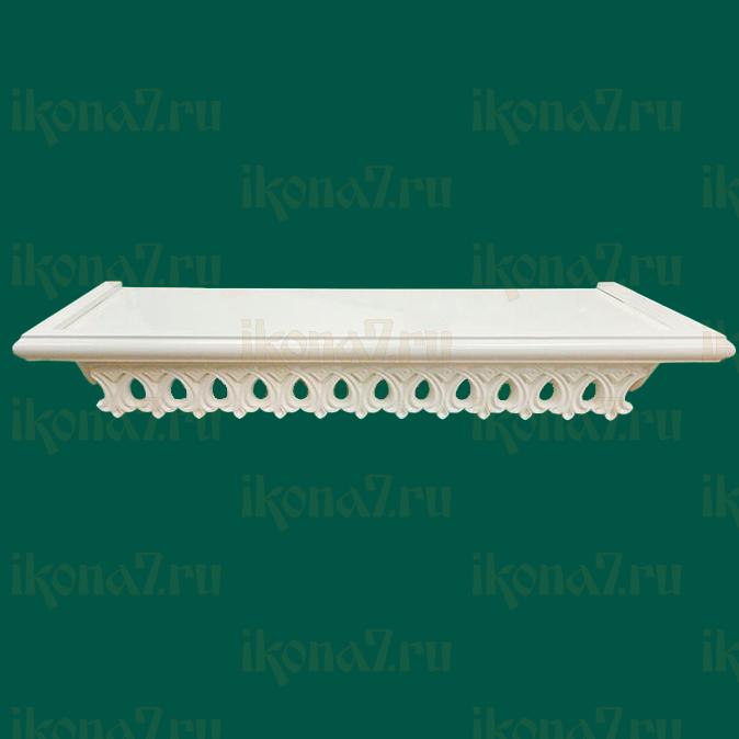 Ажурная прямая полка для икон (белая)