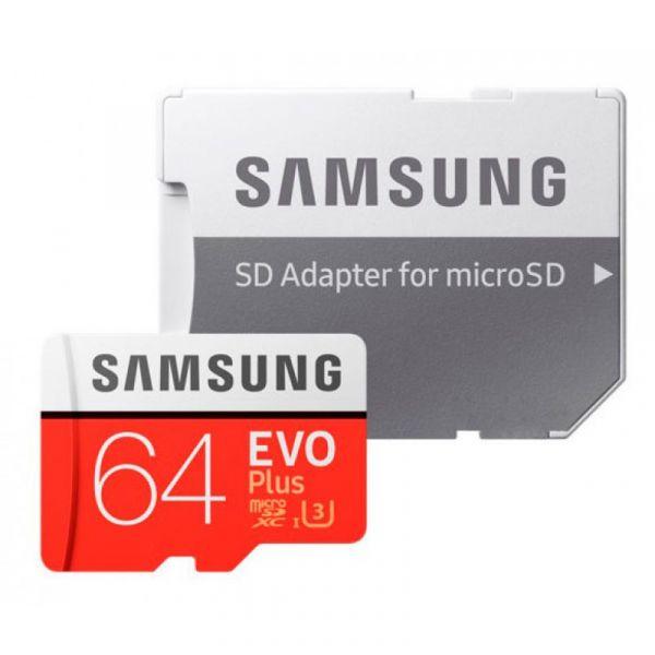 64GB Карта памяти MicroSDXC Samsung EVO Plus v2 UHS-I U3 + SD Adapter (R100/W60Mb/s) (MB-MC64GA/RU)