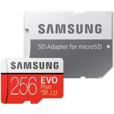 256GB Карта памяти MicroSDXC Samsung EVO Plus v2 UHS-I U3 + SD Adapter (R100/W90MB/s)(MB-MC256GA/RU)