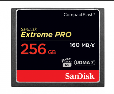 256GB карта памяти Sandisk Extreme Pro CF 160MB/s, write 140MB/s, VPG 65, UDMA 7 1000x