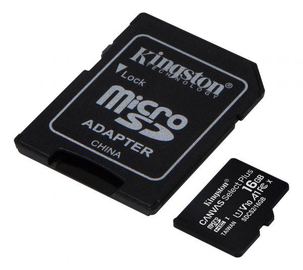16GB Карта памяти MicroSDXC Class10 UHS-I A1  Canvas Select Plus Kingston (до 100MB/s) без адаптера