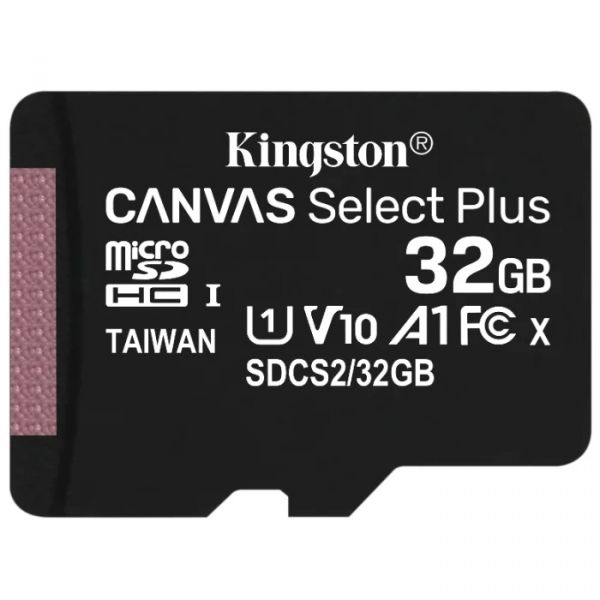 32GB Карта памяти MicroSDXC Class10 UHS-I A1  Canvas Select Plus Kingston (до 100MB/s) без адаптера