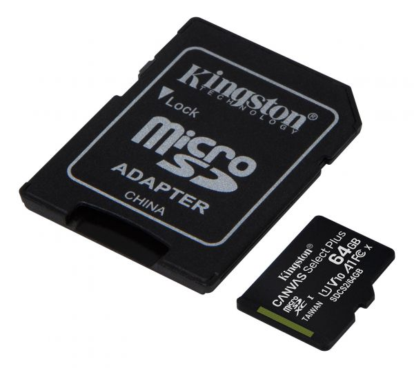 64GB Карта памяти MicroSDXC Class10 UHS-I A1  Canvas Select Plus Kingston (до 100MB/s)