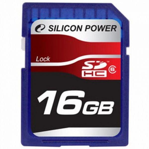 16GB карта памяти Secure Digital Silicon Power SDHC Class 6