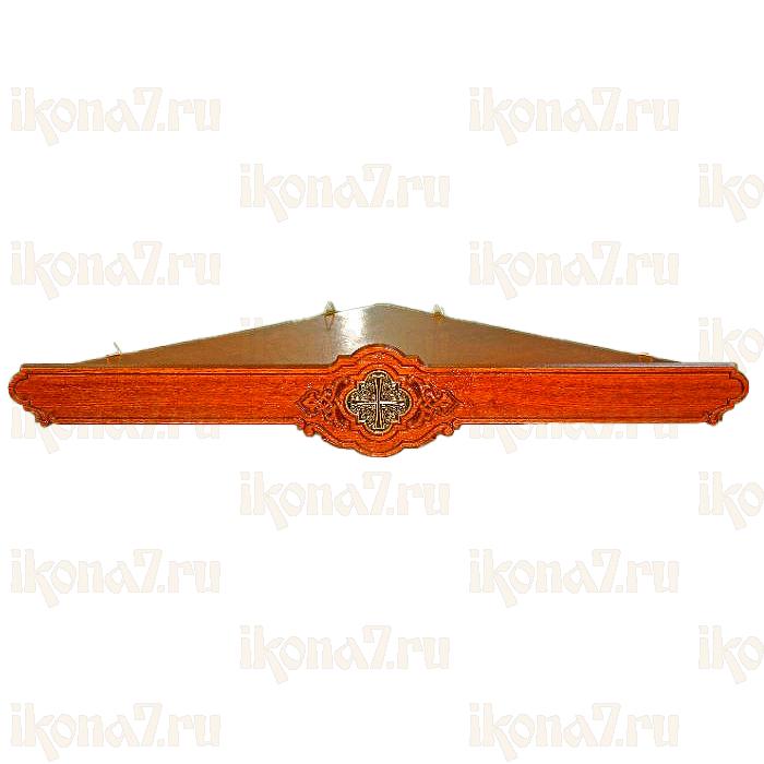 Угловая полка для икон с крестом из басмы