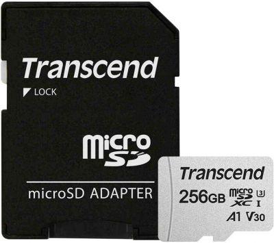 256GB Карта памяти MicroSDXC Class10 UHS-I U3 A1 Transcend с адаптером