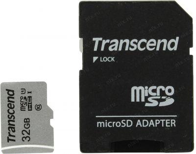 32GB Карта памяти MicroSDHC Class10 UHS-I 300S Transcend с адаптером