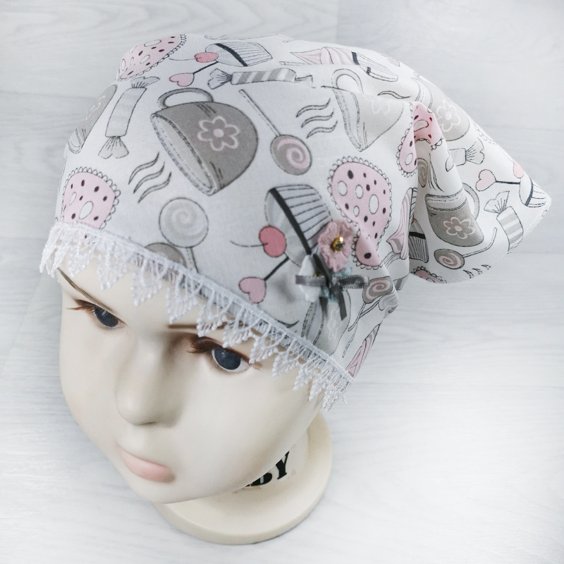 лд1290-03 Косынка текстильная из хлопка Love белая