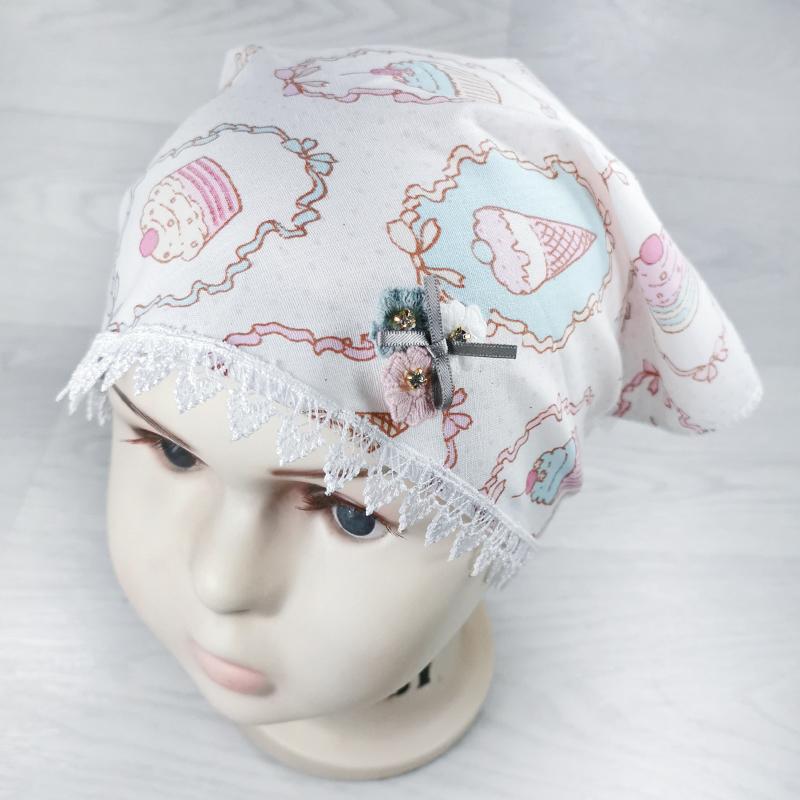 лд1291-03 Косынка текстильная из хлопка Sweet белая