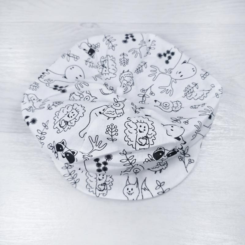 лм1066-03 Кепка шестиклинка текстильная на трикотажном ободке Лес белая
