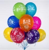 """Гелиевые шары """"С днем рождения"""" (латекс, 12 дюймов (30 см.))"""