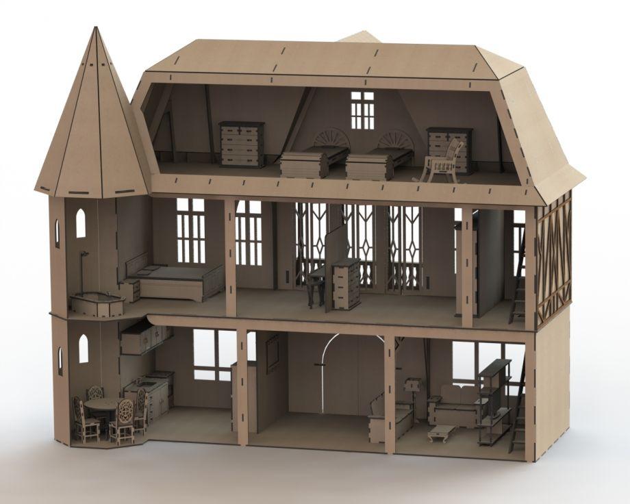 Кукольный дом с башней