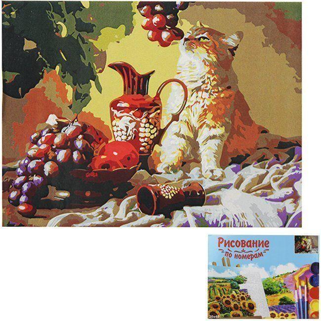 Картина по номерам Кот с виноградом 30*40см