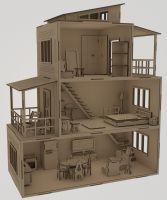 Кукольный дом трехэтажный с кладовкой