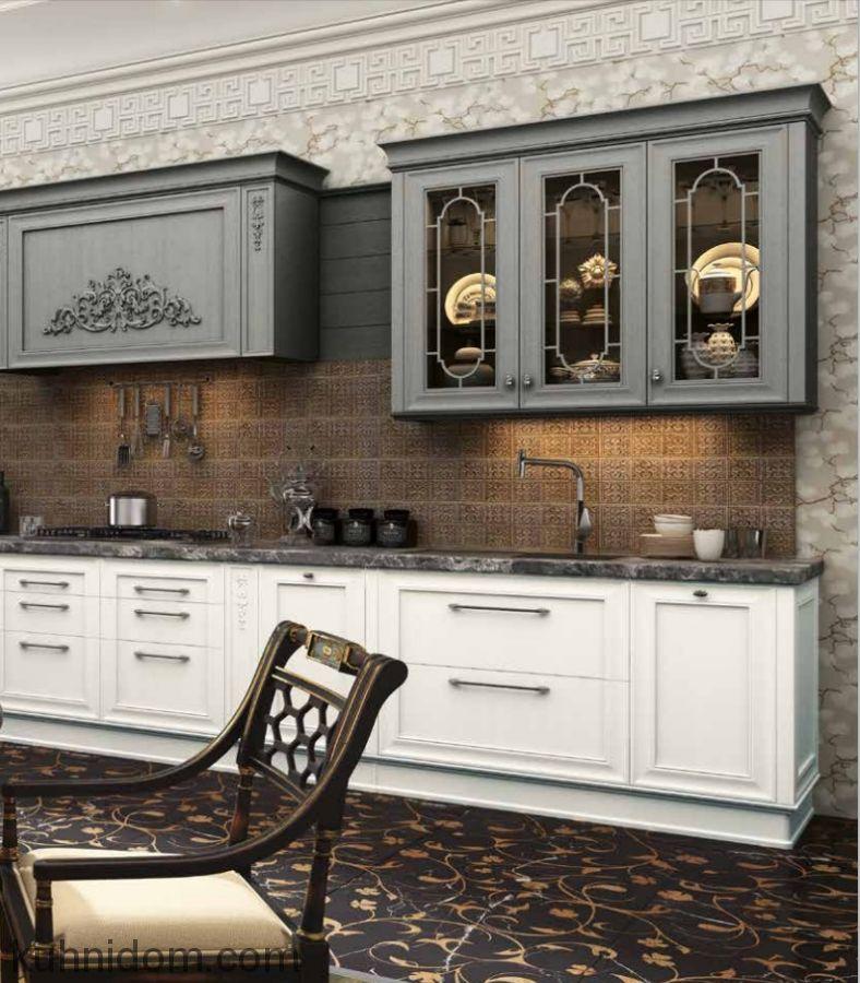 Кухня Комо серо-белая с витриной