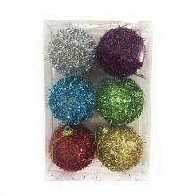 Набор новогодних шаров в мишуре, 6 шт