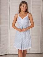 """Сорочка для беременных и кормящих """"Nikol""""  4809 голубой/коты ™Viva Mama"""