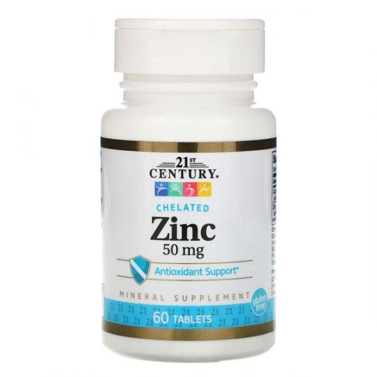 Цинк хелатный 50 мг 21-st Century (60 таблеток)
