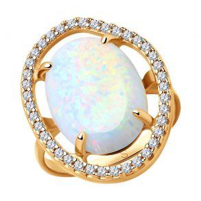 Кольцо из серебра с опалами и фианитами 83010054 SOKOLOV