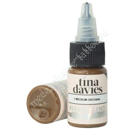 Perma Blend для татуажа бровей Tina Davies 'I Love INK' 3 Medium Brown 15 ml