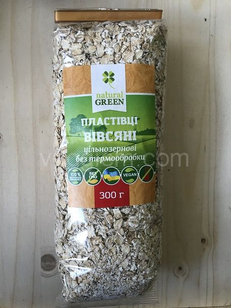 Цельнозерновые овсяные хлопья (без термической обработки) Natural Green,300 грамм