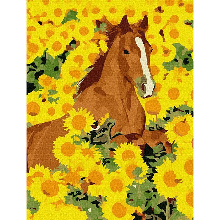 Картина по номерам Лошадь в подсолнухах 15*20см